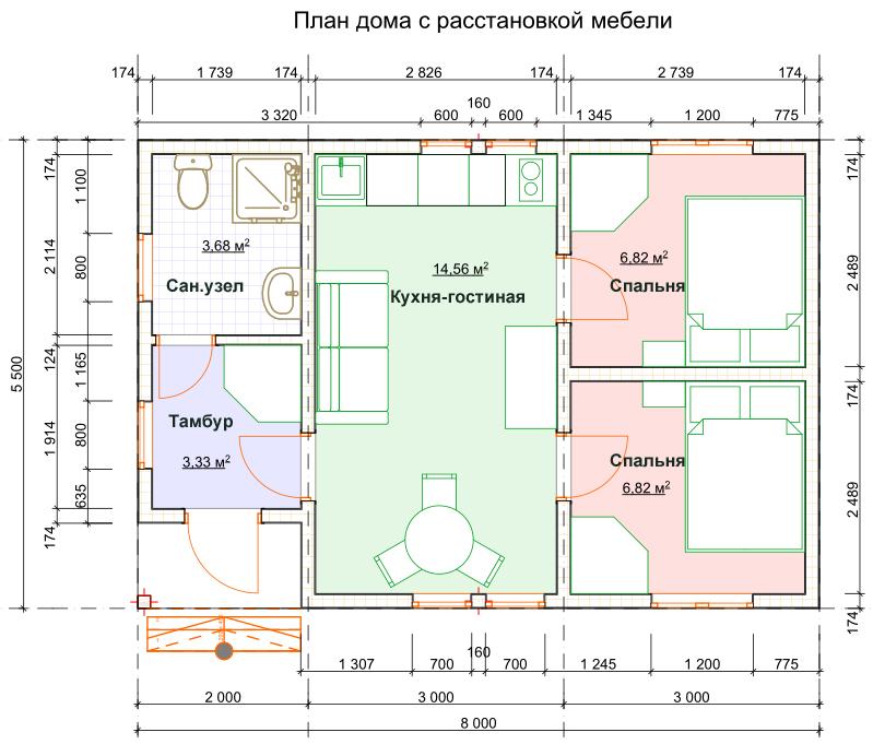 План маленького одноэтажного дома